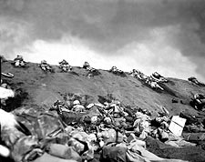 Marines on Slope of Red Beach in Iwo Jima WWII Photo Print for Sale