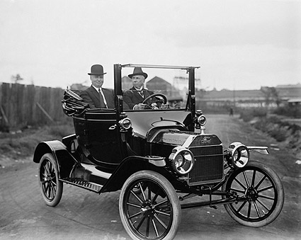 Men in Early Twentieth Century Ford Model T Roadster Photo Print