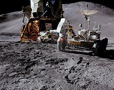 NASA Apollo 15 Rover and Lunar Module on Moon Photo Print for Sale