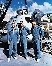 Apollo 7 Schirra, Eisele & Cunningham with Lunar Module Photo Print for Sale