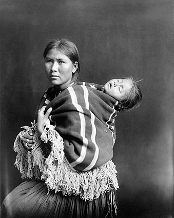 Navajo Indian Woman and Sleeping Child Photo Print