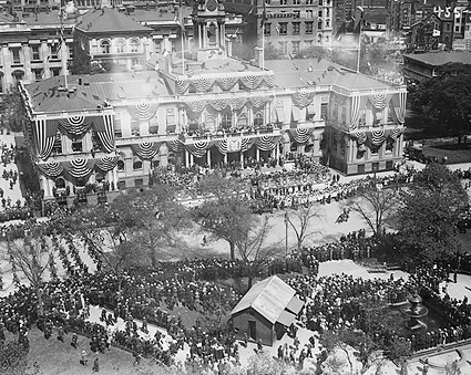New York City Hall Patriotic Display 1908 Photo Print