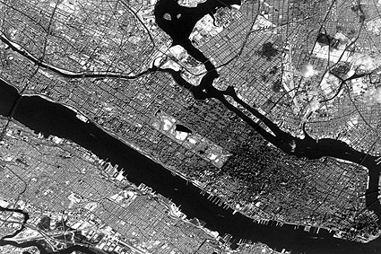 New York City Manhattan Satellite View from Space Photo Print