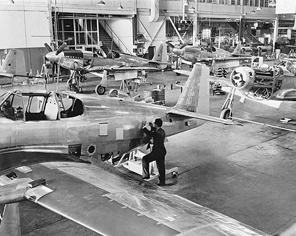 North American P-51 Assembly Line WWII Photo Print