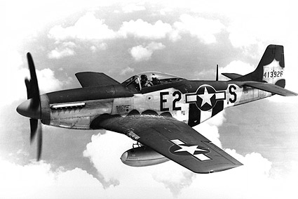 North American P-51 Mustang in Flight WWII Photo Print