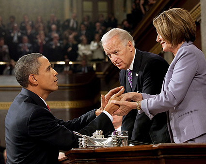 Obama, Biden and Pelosi at State of the Union Address 2010 Photo Print