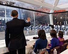 Obama Family Watches Inaugural Parade 2013 Photo Print for Sale