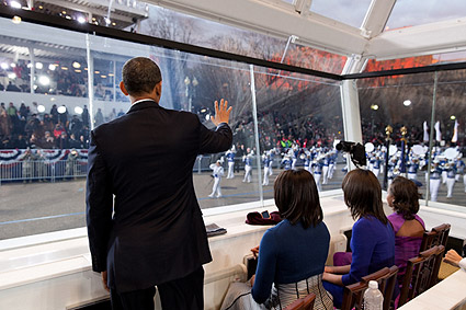 Obama Family Watches Inaugural Parade 2013 Photo Print