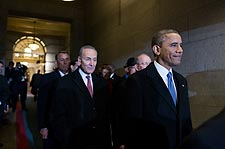 Obama with Congressmen at Capitol on Inauguration Day Photo Print for Sale