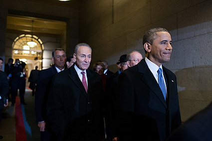 Obama with Congressmen at Capitol on Inauguration Day Photo Print