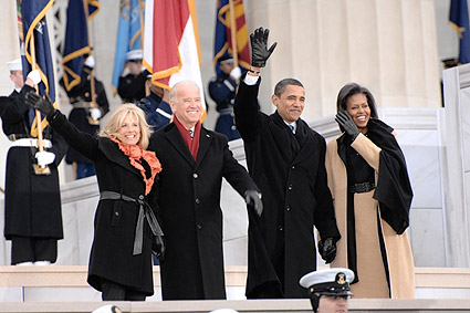 Obamas and Bidens at Inaugural Opening Ceremonies 2009 Photo Print