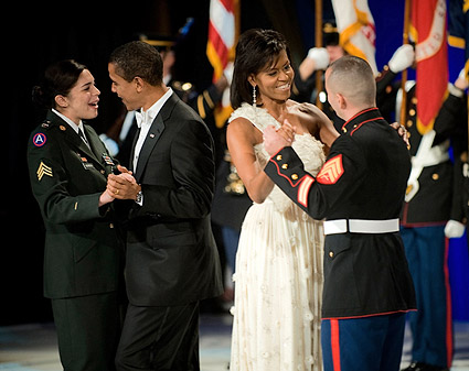 Obamas Dance With Military Service Members at Ball Photo Print