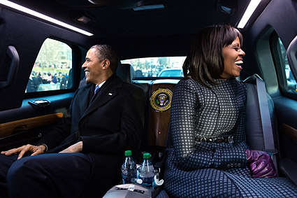 Obamas in Presidential Limousine at Inaugural Parade 2013 Photo Print