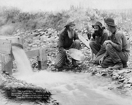 Old West Panning For Gold in Dakota 1889 Photo Print