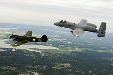 P-40 Warhawk & A-10 Thunderbolt Formation Photo Print for Sale