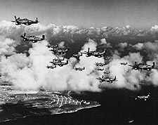 P-51 Mustangs Flying Over Saipan WWII Photo Print for Sale