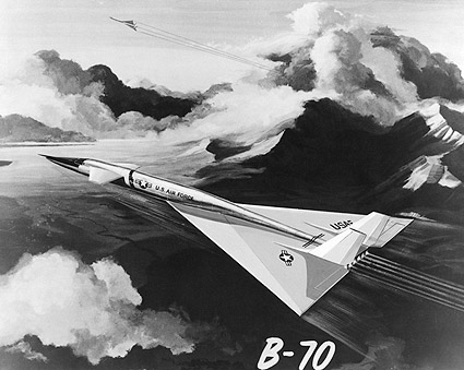 Painting of Two XB-70 Aircraft in Flight Photo Print
