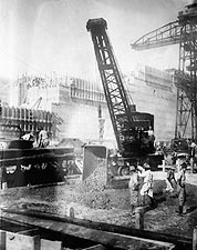 Panama Canal Auxiliary Crane Pouring Cement Photo Print for Sale