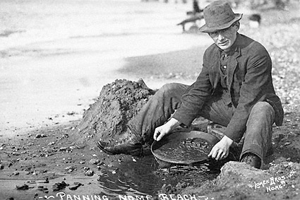 Panning for Gold Nome Beach Alaska 1900 Photo Print