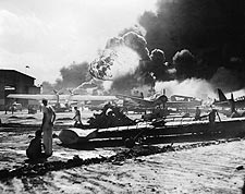Pearl Harbor Bombing of Naval Air Station Photo Print for Sale