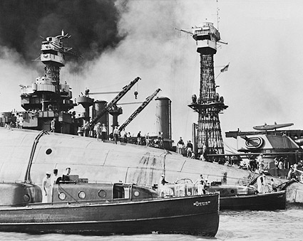 Pearl Harbor Rescue of USS Oklahoma Sailors Photo Print