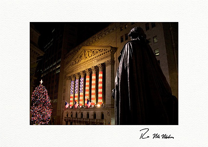 Personalized George Washington Patriotic Wall Street Christmas Cards