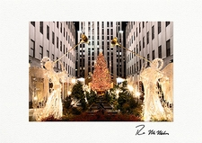 Personalized Rockefeller Center Angels Christmas Tree Holiday Cards