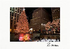 Personalized Rockefeller Center Skating Christmas Tree Holiday Cards