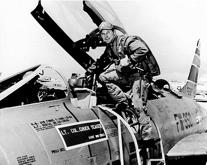 Pilot Chuck Yeager & F-100 Super Sabre Photo Print