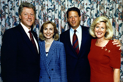 Pres. Bill Clinton & VP Al Gore with Wives Photo Print