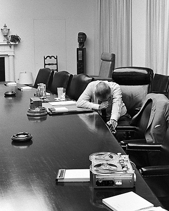 Pres. Lyndon Johnson Troubled by Vietnam Photo Print