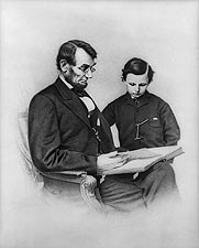 President Abraham Lincoln Seated w/ Son Photo Print for Sale