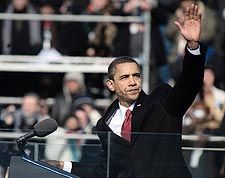President Barack Obama Waves After Inaugural Address Photo Print for Sale
