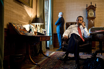 President Barack Obama Phone Call in Treaty Room Photo Print