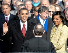 President Barack Obama Taking Oath of Office Photo Print