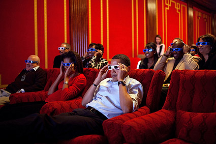 President Barack Obama Watching 3D with Guests Photo Print