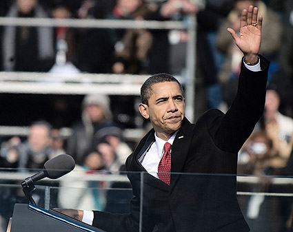 President Barack Obama Waves After Inaugural Address Photo Print