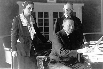 President Calvin Coolidge at Desk Photo Print