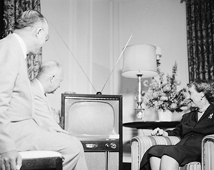President Dwight Eisenhower & Mamie with TV Photo Print