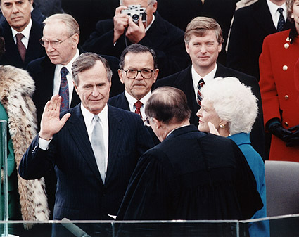 President George Bush Oath of Office 1989 Photo Print