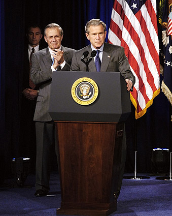 President George W Bush & Donald Rumsfeld Photo Print