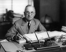 President Harry Truman at Desk Photo Print for Sale