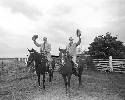 President Johnson and Hubert Humphrey on Horseback Photo Print