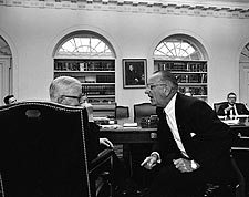 President Lyndon B. Johnson & George Reedy Photo Print for Sale