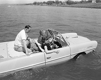 President Lyndon B. Johnson in Amphicar Photo Print