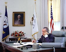 President Lyndon B. Johnson in Oval Office Photo Print for Sale