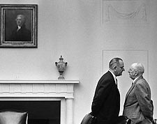 President Lyndon Johnson with Senator Richard Russell Photo Print for Sale