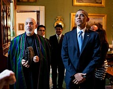 President Obama & Afghan President Karzai in Green Room Photo Print for Sale