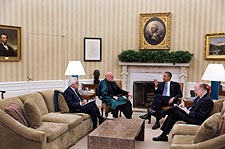President Obama & Afghan President Karzai in Oval Office Photo Print for Sale