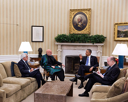 President Obama & Afghan President Karzai in Oval Office Photo Print